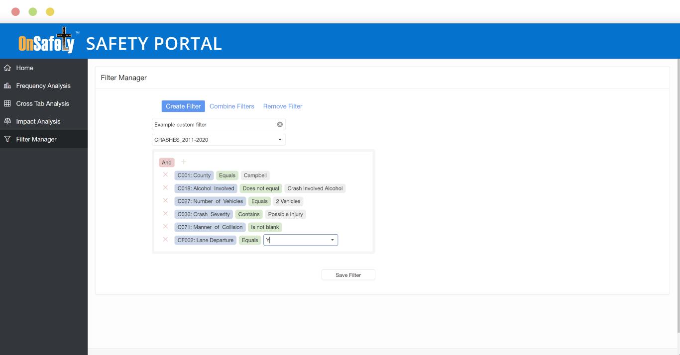 ITIS OnSafety Safety Portal Filter Builder screenshot